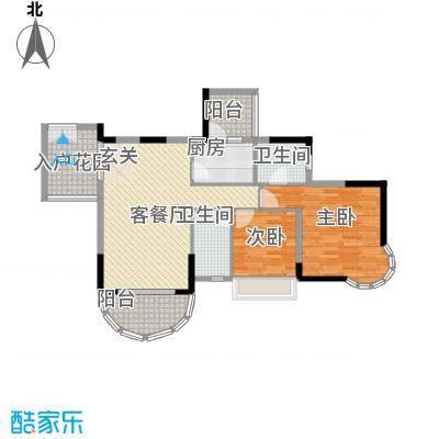 波海蓝湾三期D8幢02单元户型2室2厅2卫1厨