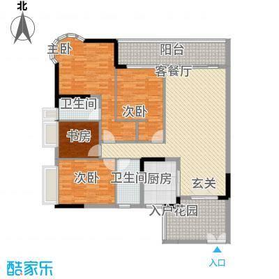 波海蓝湾三期D8幢04单元户型4室2厅2卫1厨