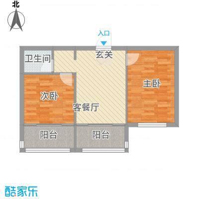 扬州城6.12㎡7#楼-户型2室2厅1卫1厨