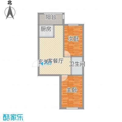 扬州城85.10㎡7#楼-户型2室2厅1卫1厨