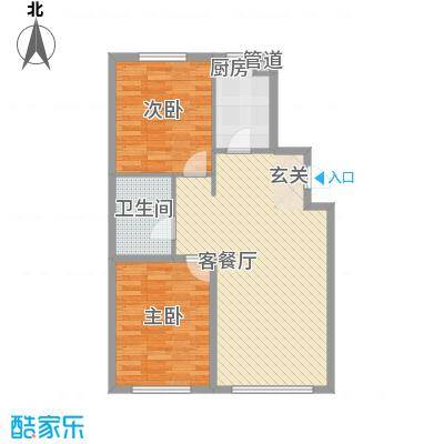 东湖凤还朝7.18㎡经济两居室户型2室2厅1卫1厨