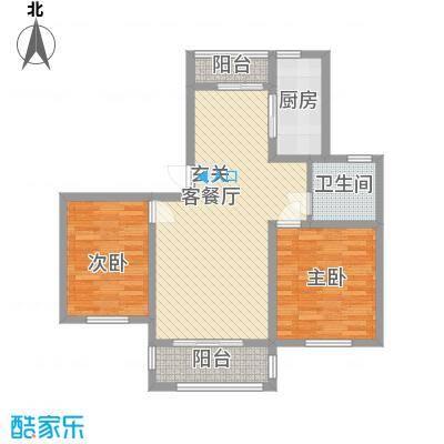 永佳名邸88.00㎡单页F户型2室2厅1卫1厨