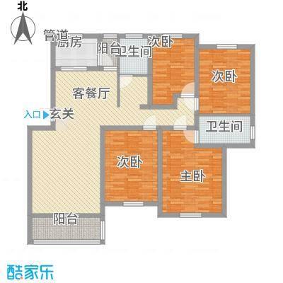 永佳名邸134.00㎡D户型4室2厅4卫1厨