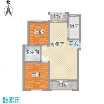 永佳名邸88.60㎡单页B2户型2室2厅1卫1厨