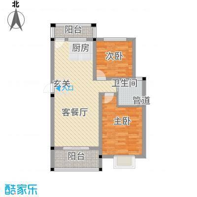 春江花园88.00㎡B户型2室2厅1卫1厨