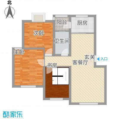 春江花园14.47㎡F5户型3室2厅1卫1厨