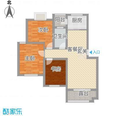 春江花园14.47㎡F4户型3室2厅1卫1厨