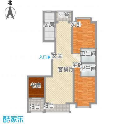 香水湾3143.22㎡雅致三居户型3室2厅1卫1厨