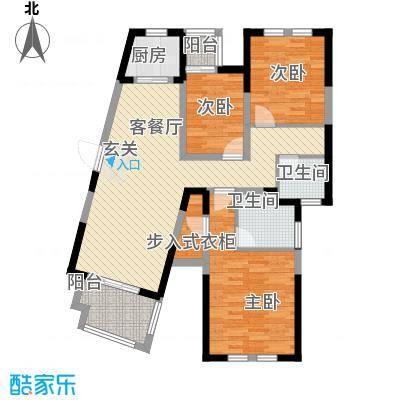 临商水岸明珠20#E_户型3室2厅2卫1厨