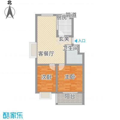 富泽园7A户型2室2厅1卫1厨