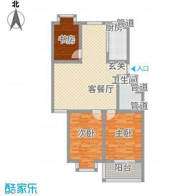富泽园111.23㎡6C户型3室2厅1卫1厨