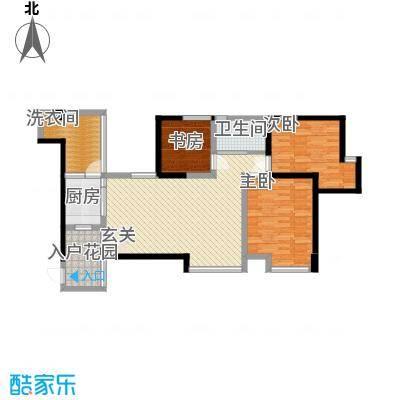 中玮海润广场114.77㎡5栋3号房户型3室2厅1卫1厨