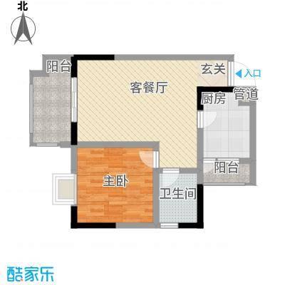 华恩・凯丽滨江68.54㎡户型1室2厅1卫1厨