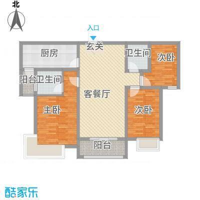 安阳义乌商贸城二期123.00㎡住宅E2户型3室2厅2卫1厨