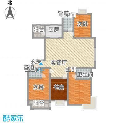 智雅茗苑187.60㎡A户型4室2厅3卫1厨