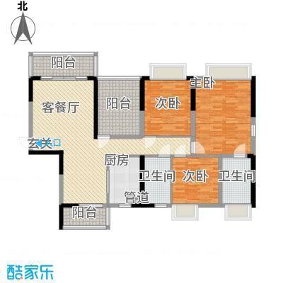 紫檀山142.00㎡8栋A2户型2室2厅2卫1厨