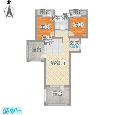 恒泰・时间海8.00㎡户型2室1厅1卫1厨