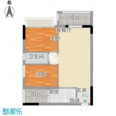 锦绣华景75.00㎡2门0户型2室2厅1卫