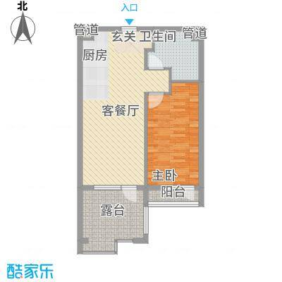 恒泰・时间海74.00㎡2、3号楼G正面户型1室1厅1卫1厨