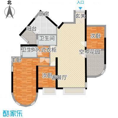 锦绣华景157.00㎡D户型3室2厅2卫1厨