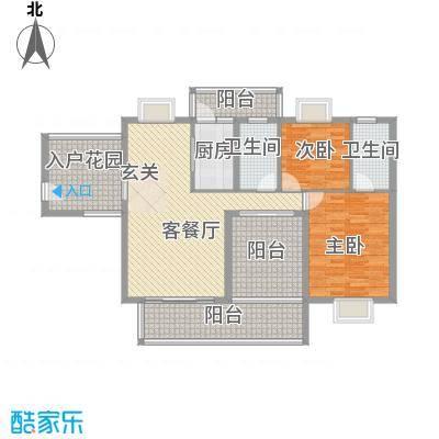 丽景湾12.81㎡C1户型2室2厅2卫1厨
