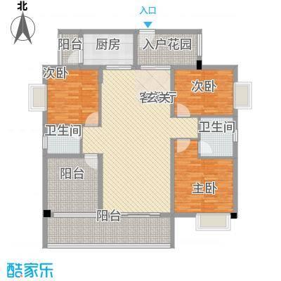 丽景湾148.00㎡D户型3室2厅2卫1厨