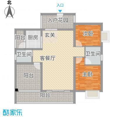 丽景湾127.80㎡C2户型2室2厅2卫1厨
