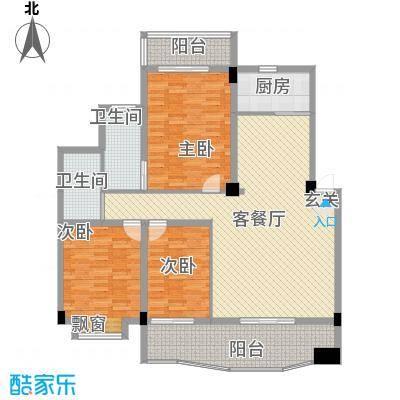 圆梦园128.46㎡B栋户型3室2厅2卫1厨