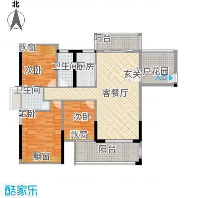 嘉豪园二期121.70㎡7/8幢06A房、06B房户型3室2厅2卫1厨