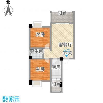 荣华山庄二期温情港湾88.24㎡A1户型2室2厅1卫1厨