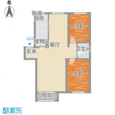 锦山庄园12.10㎡B户型2室2厅1卫