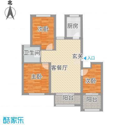 翠湖天地6.50㎡D2户型3室2厅1卫1厨