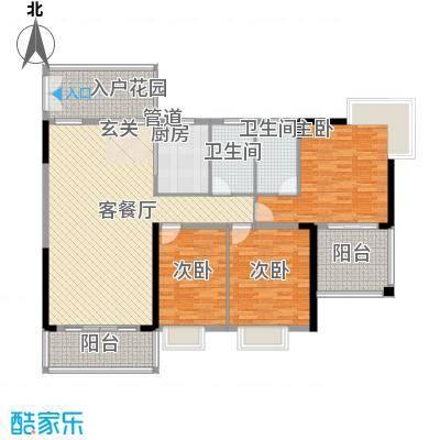 水木天骄4B户型3室2厅2卫1厨