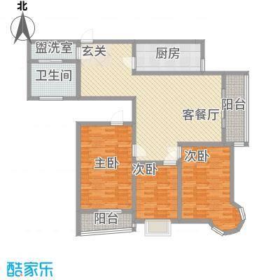 龙悦湾三期151.76㎡f户型3室2厅1卫1厨