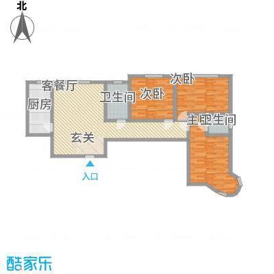 龙悦湾三期134.33㎡b户型3室2厅2卫1厨