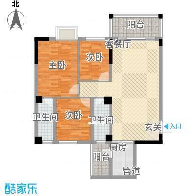 金山祥和花园14.40㎡A1户型3室2厅2卫1厨