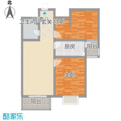 祥云・黄金叶6.56㎡B户型2室2厅1卫1厨