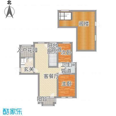 东方格兰维亚135.00㎡C3a跃层户型2室2厅1卫