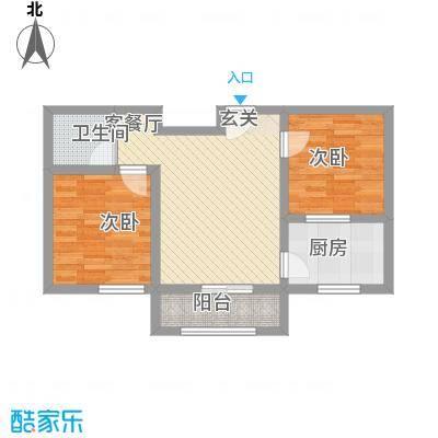 翡翠江南65.00㎡B65户型2室1厅1卫1厨