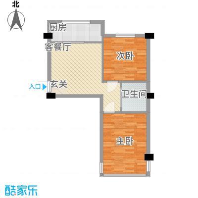 竹林・金地华府68.11㎡户型2室1厅1卫1厨