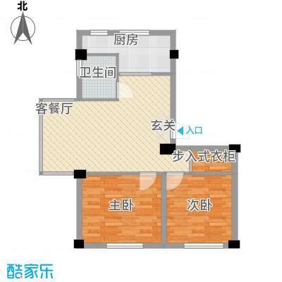 竹林・金地华府7.10㎡户型2室2厅1卫1厨