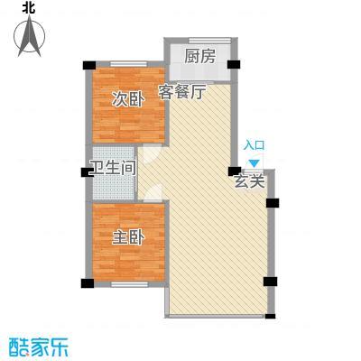 竹林・金地华府86.40㎡户型2室2厅1卫1厨