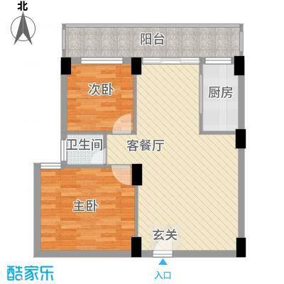 聚福雅居66.40㎡AB栋05单元户型2室2厅1卫1厨
