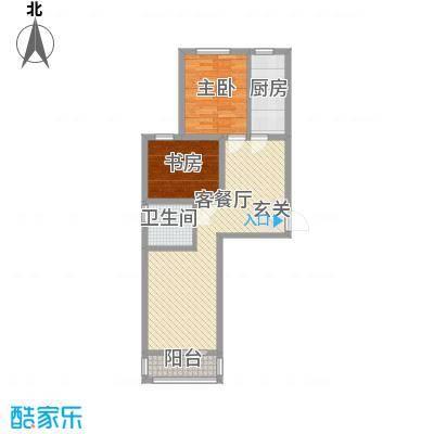 左岸春天78.00㎡B左岸香凝户型2室2厅1卫1厨