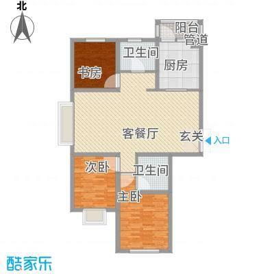 瑞合领秀恋恋山城125.30㎡户型3室2厅2卫