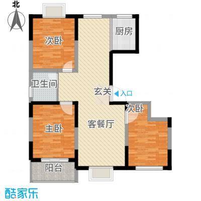 万象华城116.40㎡E户型3室2厅1卫1厨