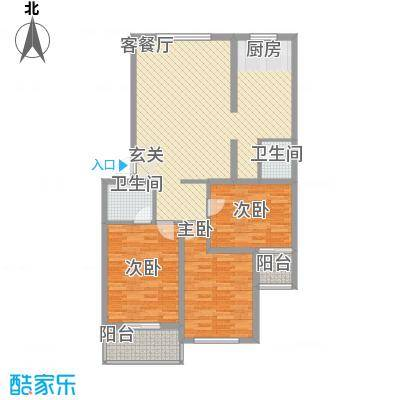 沧州孔雀花园小区(原王官屯旧城改造)114.60㎡D户型3室2厅1卫1厨