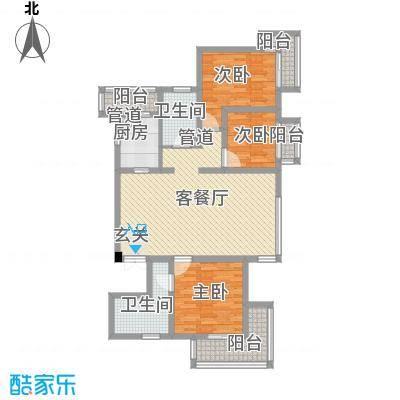 教授花园IV期碧山临海125.00㎡户型3室2厅2卫1厨