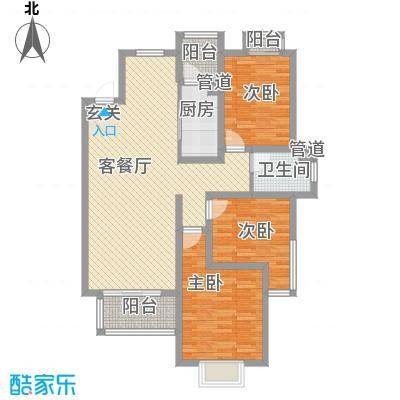 教授花园IV期碧山临海122.00㎡户型3室2厅1卫1厨