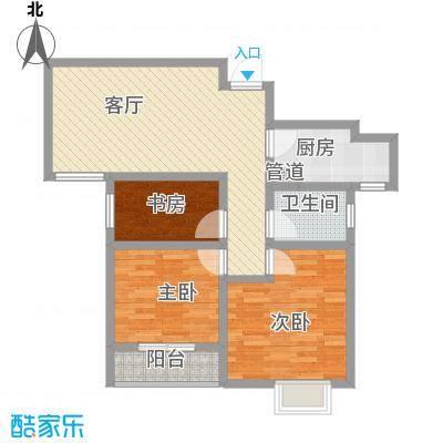 新城国际6.46㎡户型3室1厅1卫